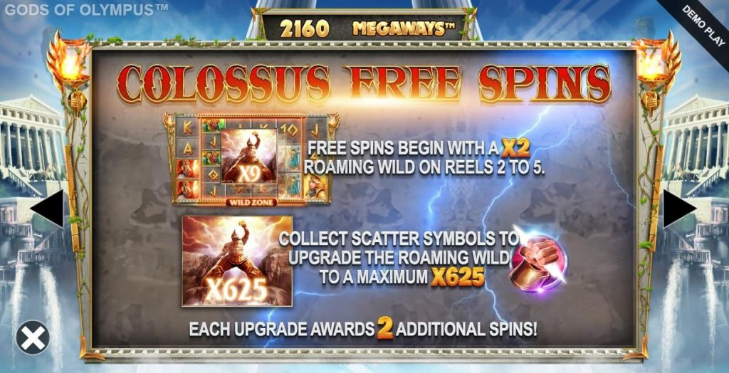 gods of olympus megaways colossus free spins