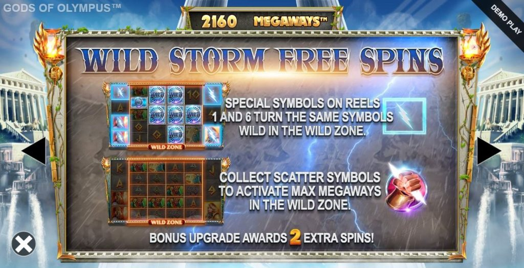 gods of olympus megaways wild storm free spins