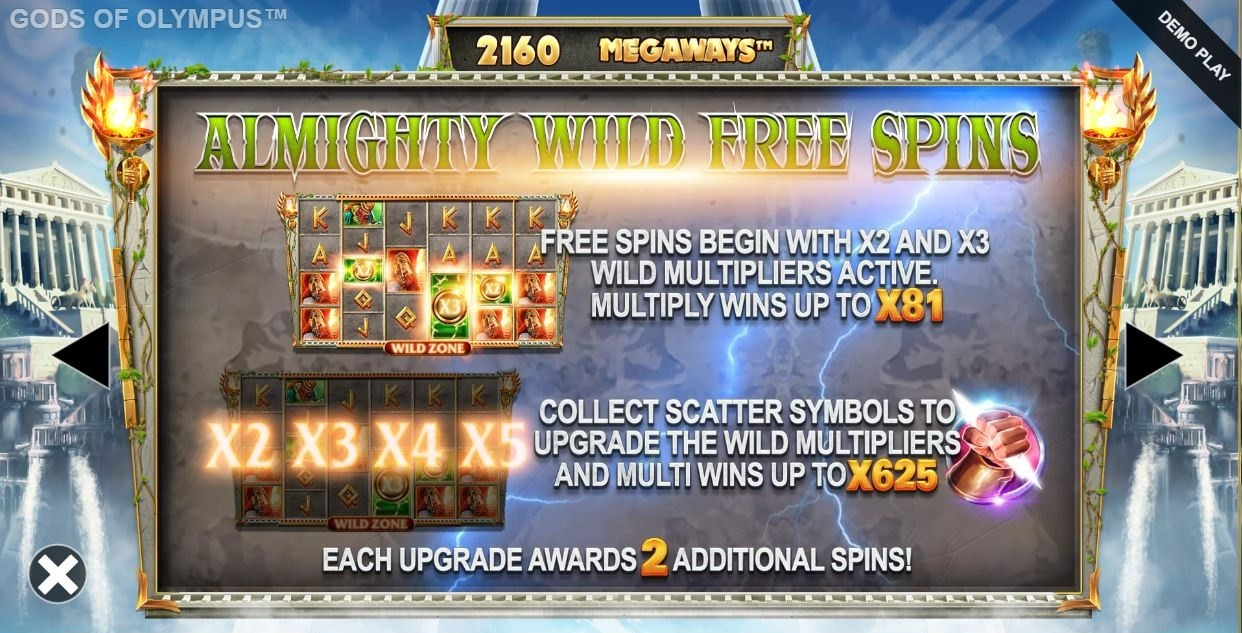 gods of thunder megaways almighty wild free spins