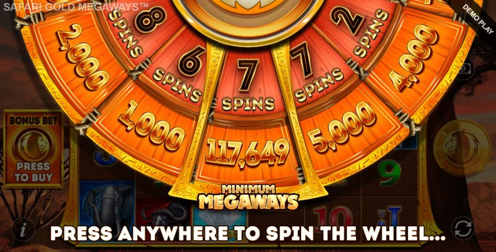 safari gold megaways bonus wheel