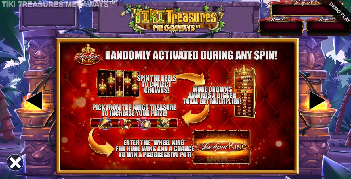 tiki treasures megaways progressive jackpot