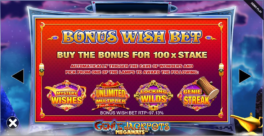 genie jackpots megaways bonus buy feature