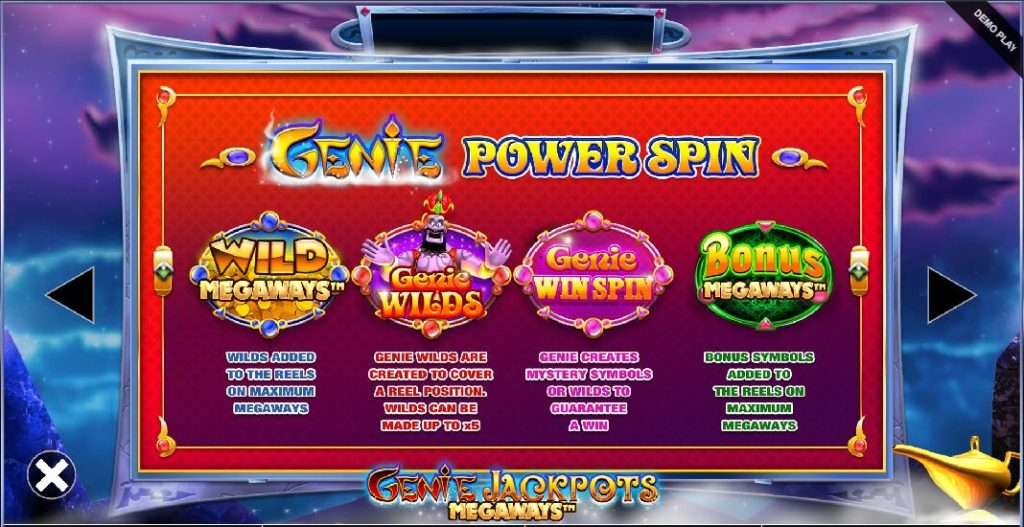 genie jackpots megaways power spin feature