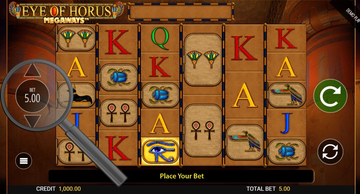 select bet size in eye of horus megaways