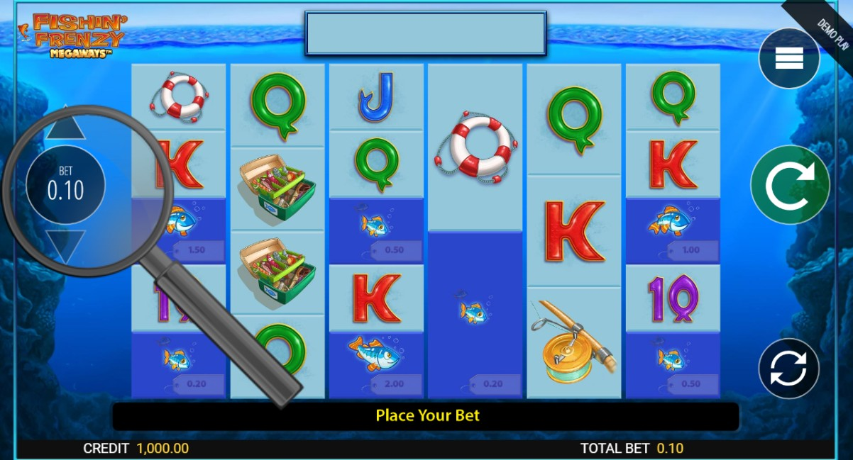 select bet size in fishin frenzy megaways