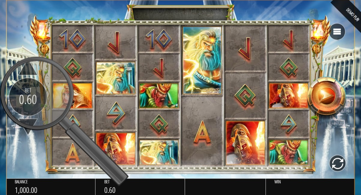 select bet size in gods of olympia megaways