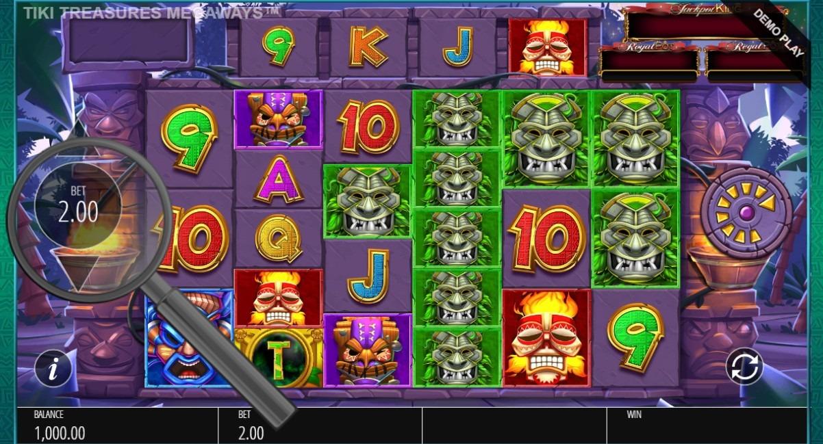 select bet size in tiki treasures megaways