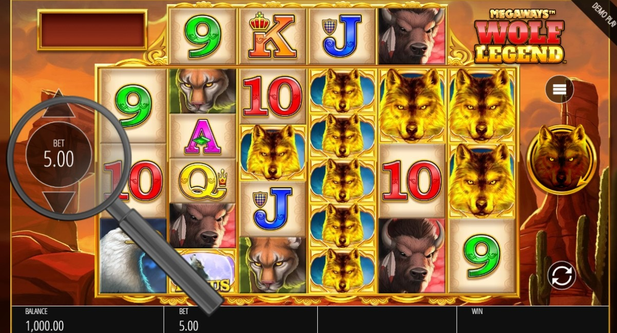 select bet size in wolf legend megaways